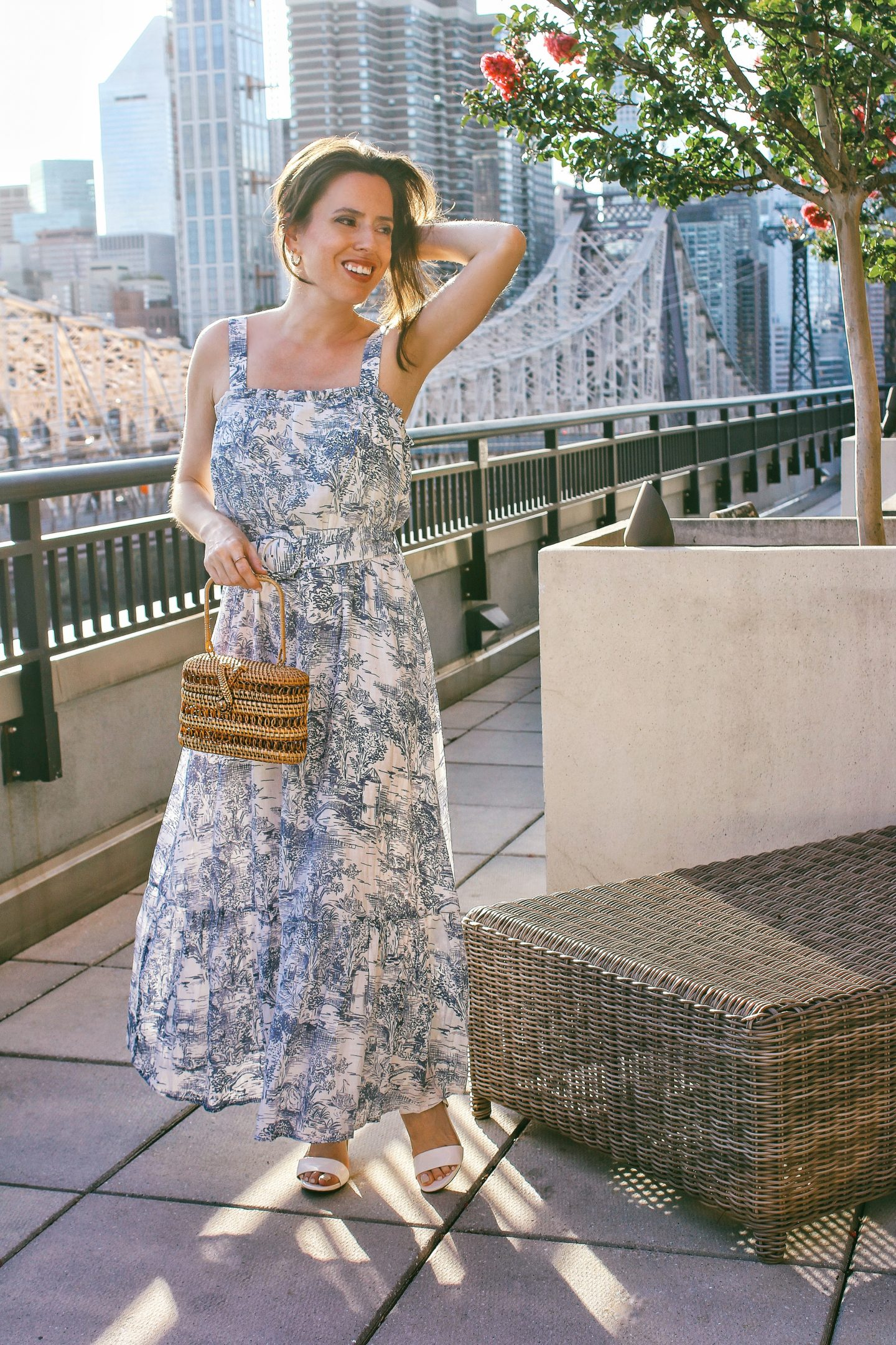ana-florentina-wearing-toile-print-midi-dress