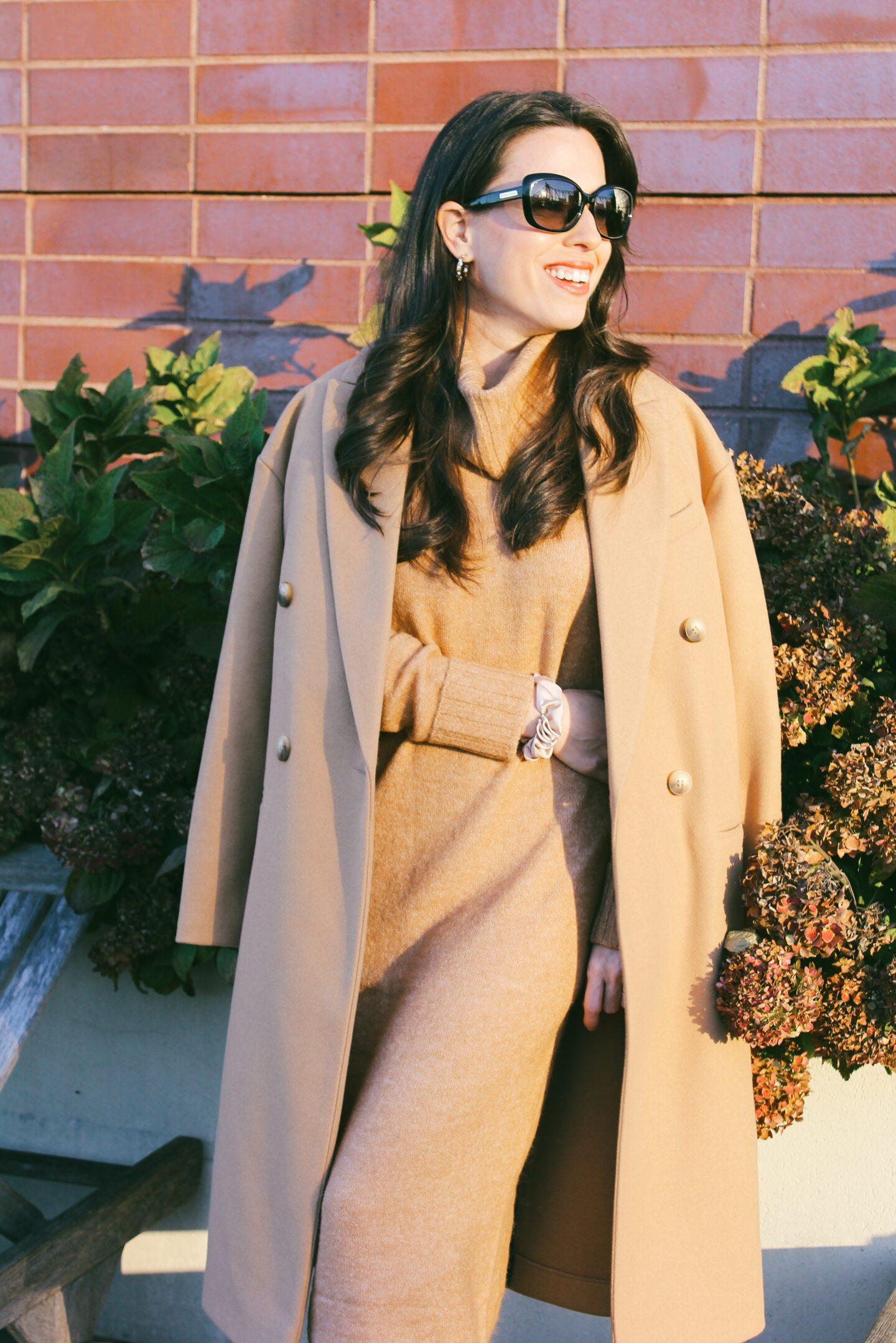 ana florentina sweater dress and camel coat
