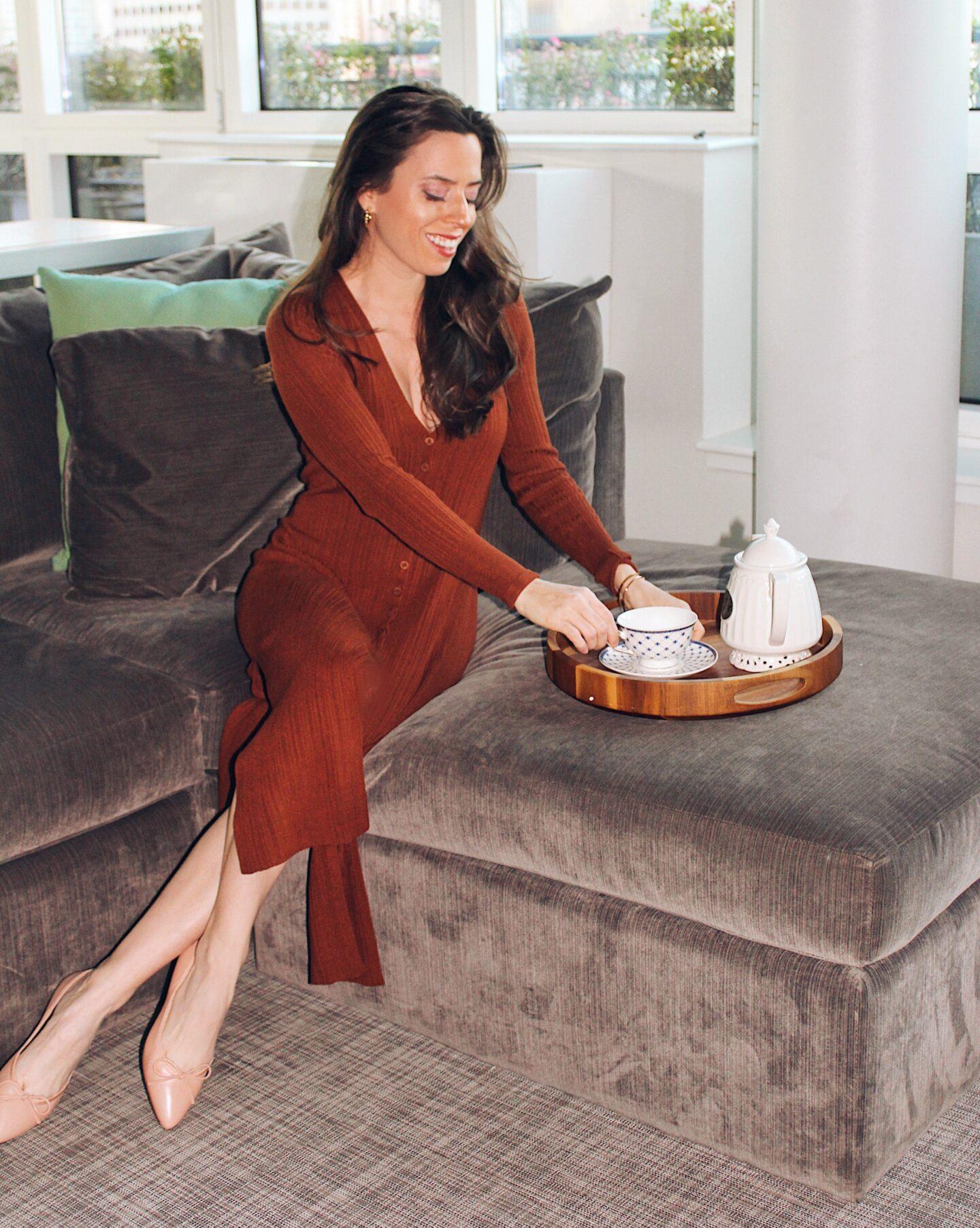 brown cardigan and ballerina flats outfit idea -- ana florentina