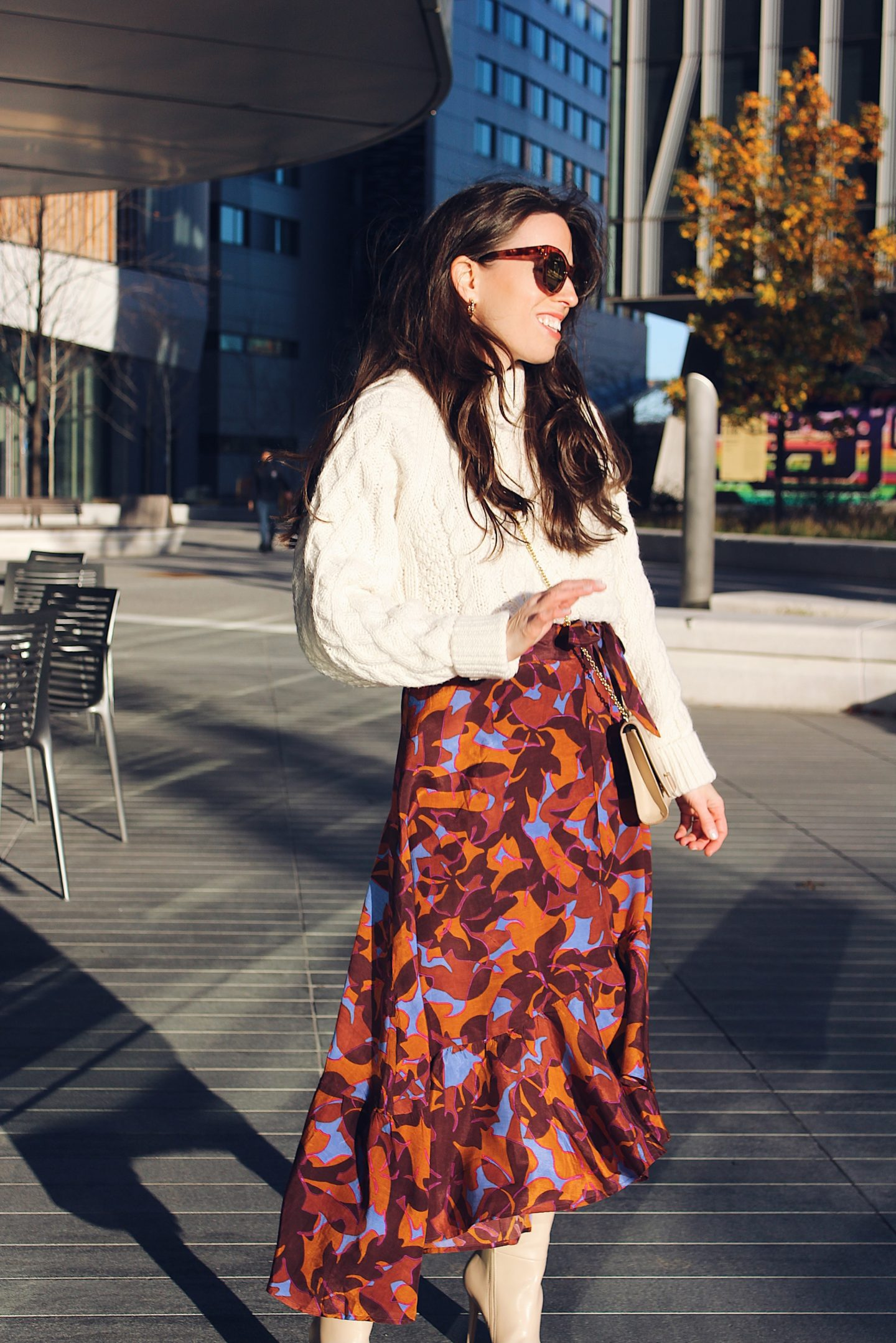 How to Wear a Floral Wrap Skirt and Cable Knit Sweater Outfit Idea -- Ana Florentina