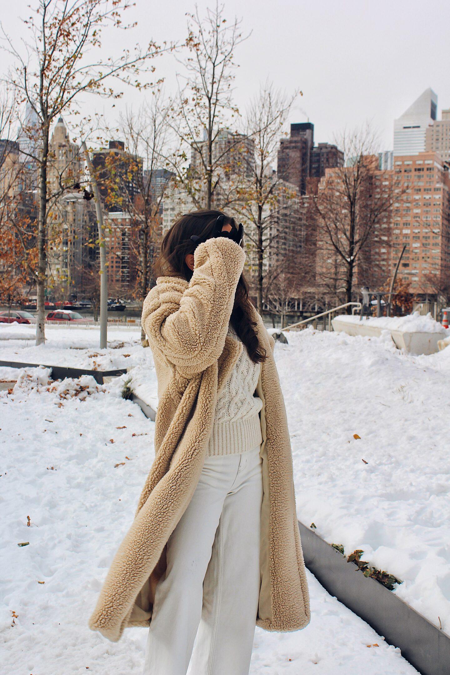 New York snow outfit teddy coat ana florentina