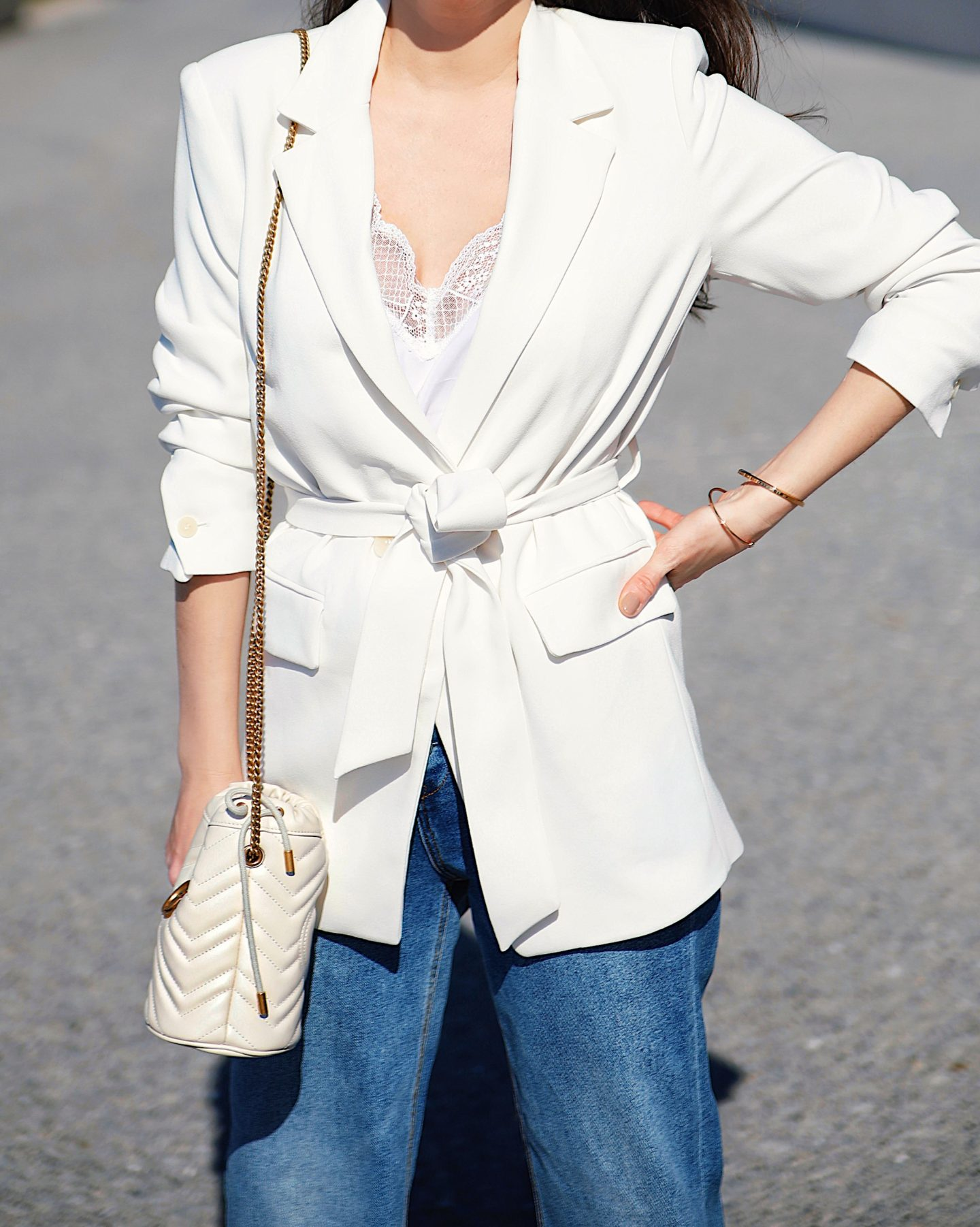 Ana Florencia wearing Mango white crepe blazer in NYC