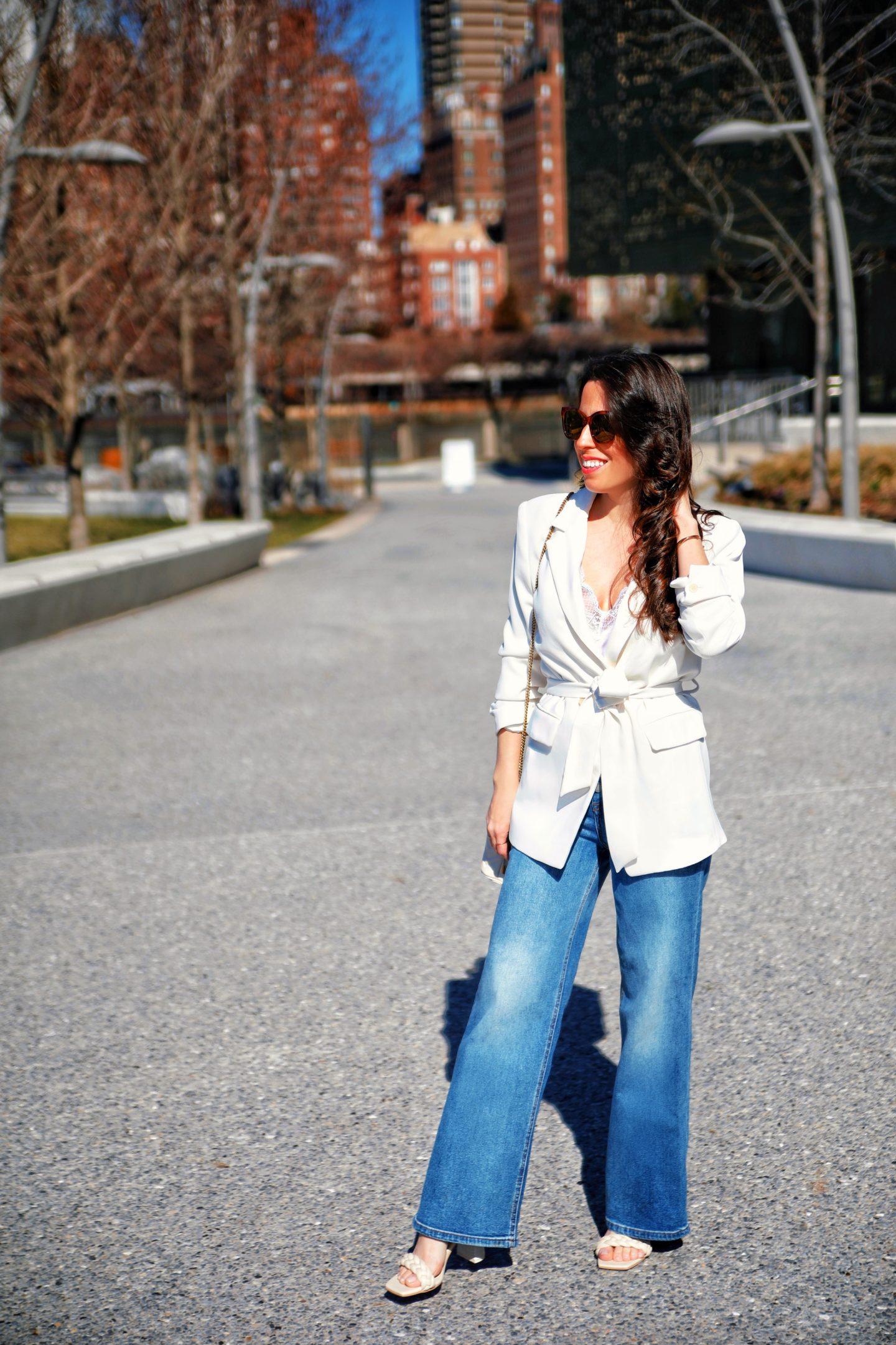 Mango-white-crepe-blazer-BlankNYC-jeans-outfit-gucci-mini-bag