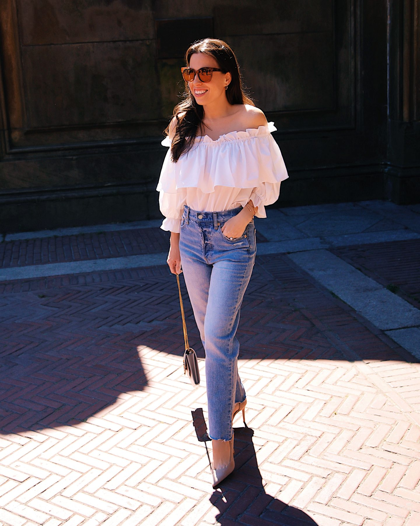 JING off the shoulder top GAP high rise jeans