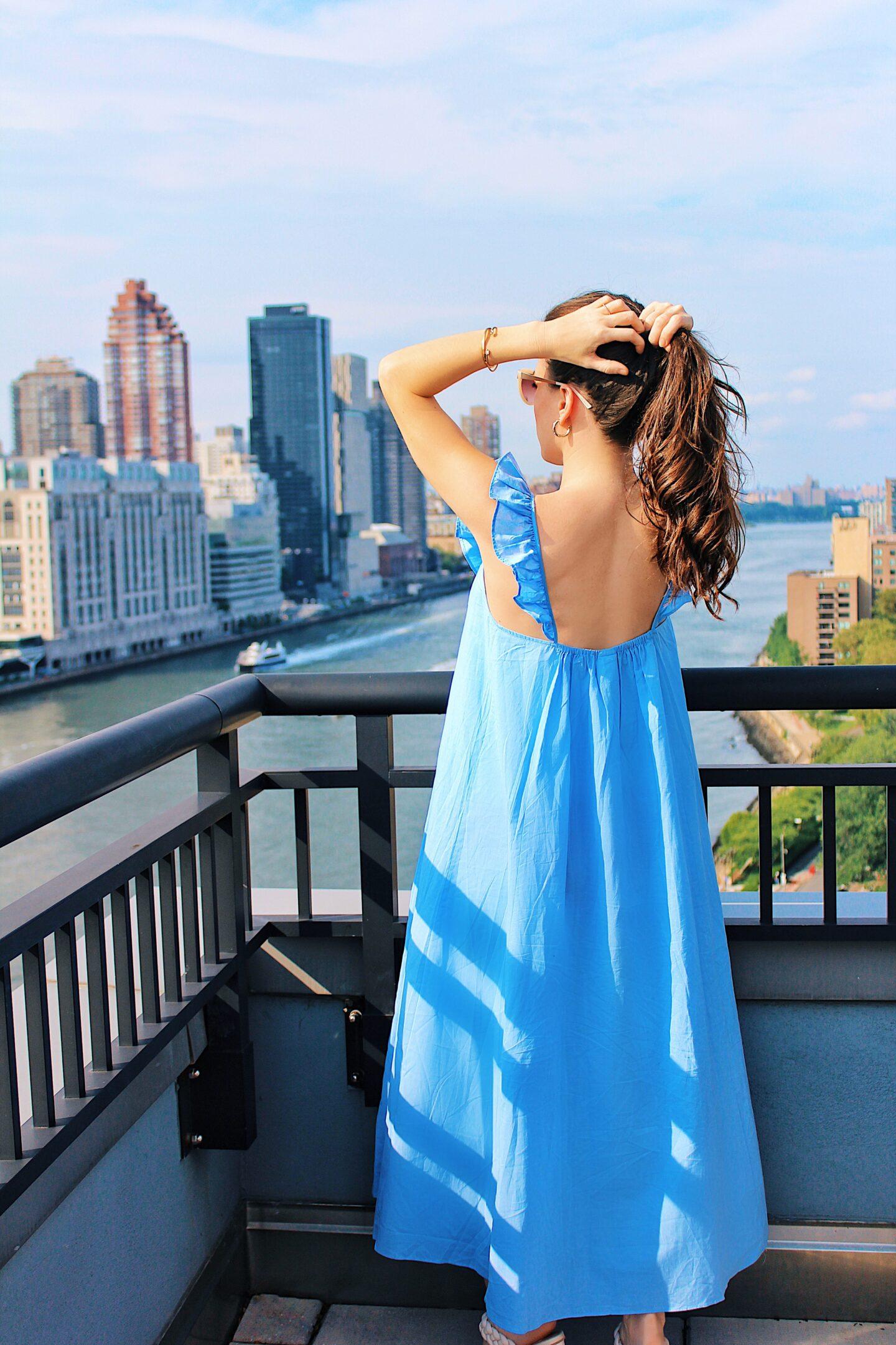 Ana Florentina wearing blue maxi dress