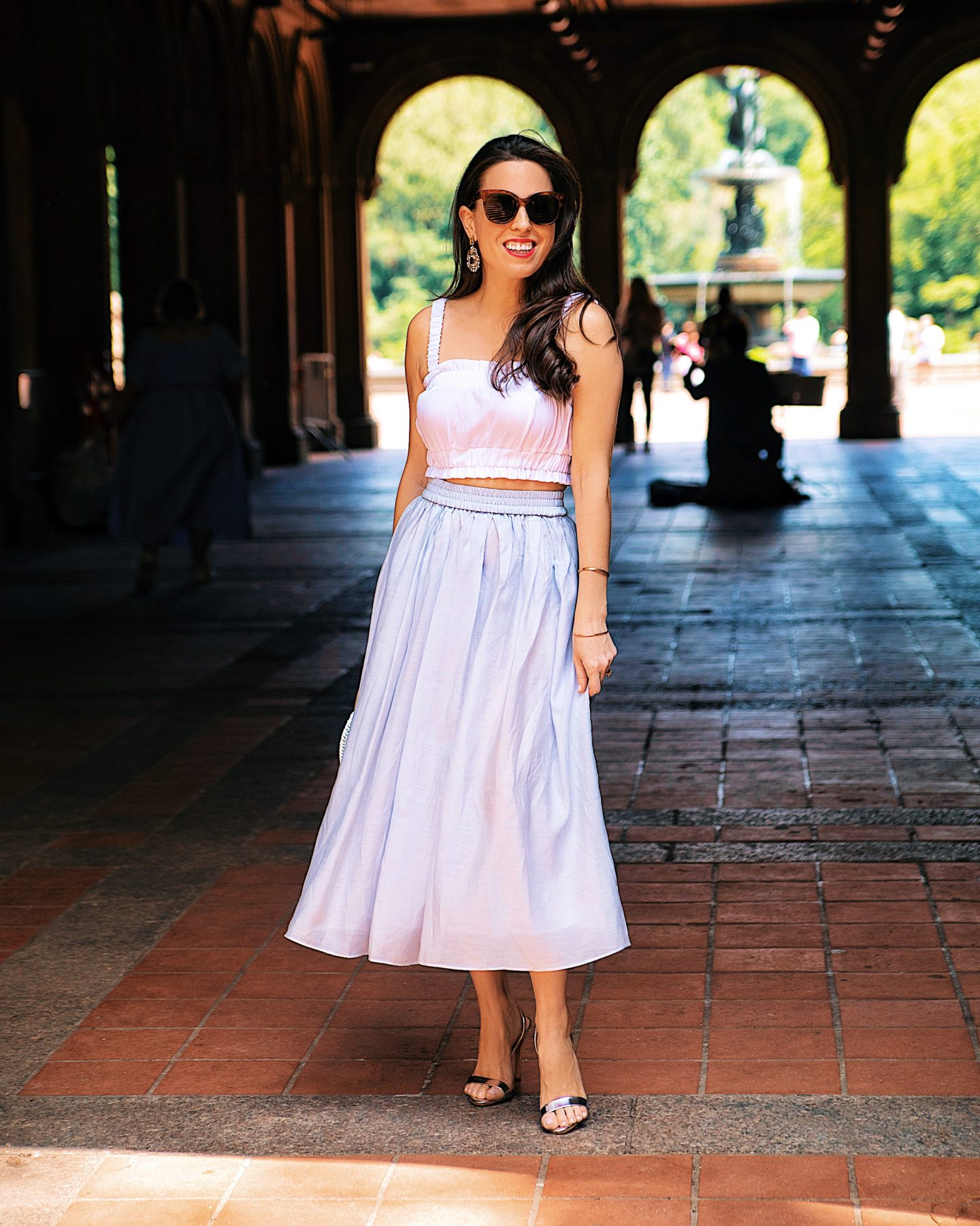 h&m midi skirt and crop top