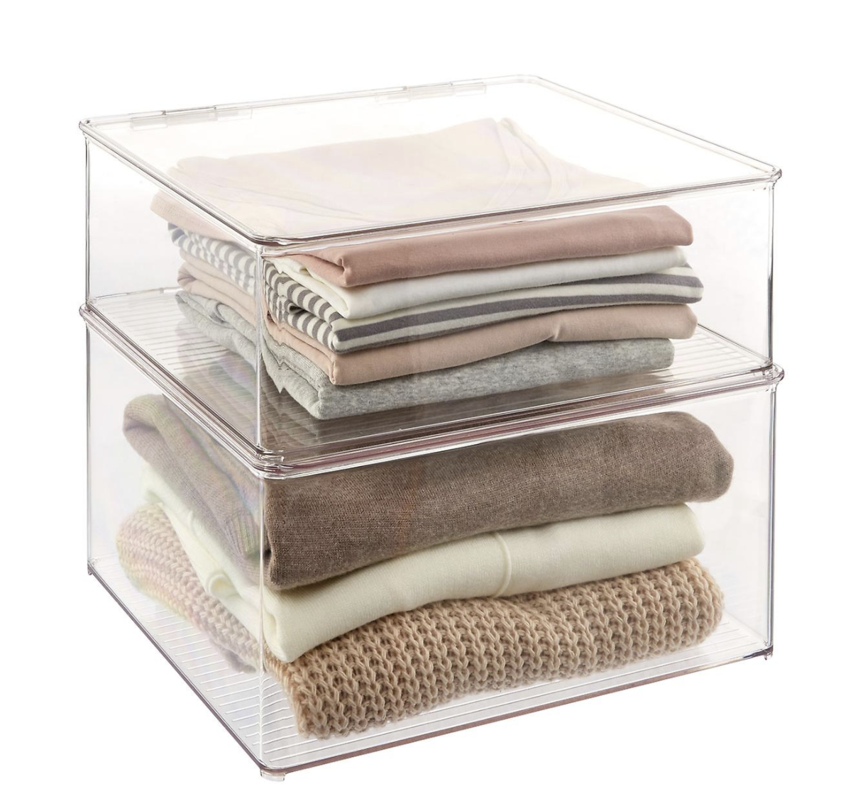 iDesign Hinged-Lid Stackable Shirt & Sweater Boxes