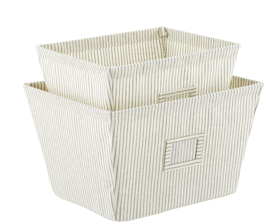 Open Canvas Storage Bins with Labels