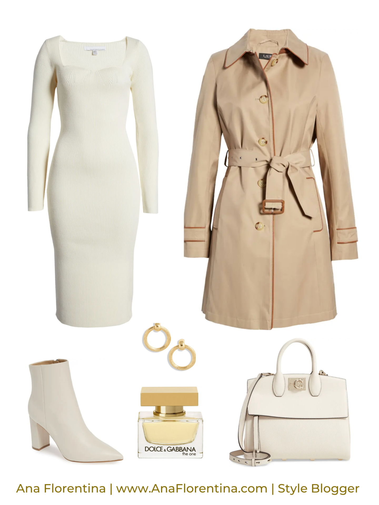 neutral sweater dress and trench coat outfit