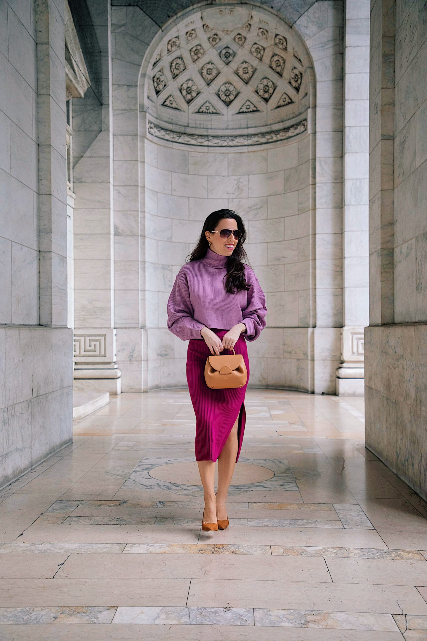 A monochromatic look in purple to wear this Fall, featuring a lilac sweater and a pencil skirt with a Polene number one nano bag. | Classic Style blogger in NYC