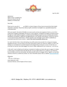 Letter from Centro Hispano of Dane County