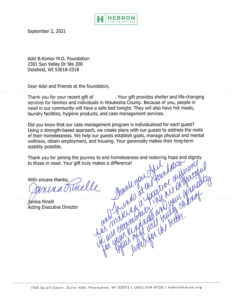 Letter from Hebron House