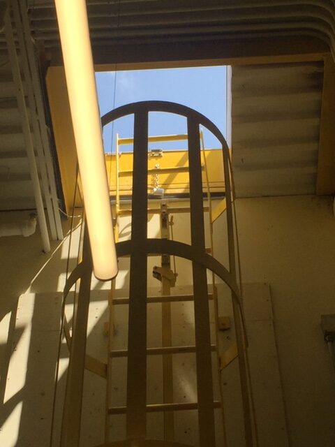 Roof Hatch Support and access stair rails
