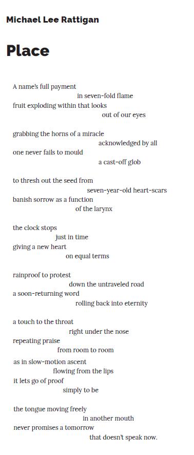 "Poem ""Place"" by Michael Lee Rattigan (SAND 17)"