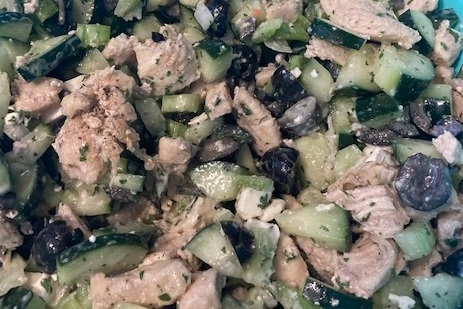 chicken salad with two cucumbers