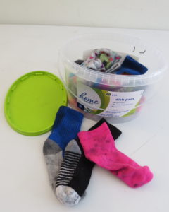 container of socks
