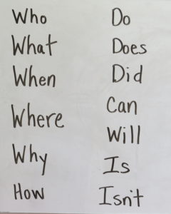 words that begin questions, writing questions activity