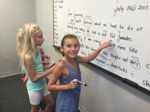 students correcting grammar, spelling and punctuation in a paragraph