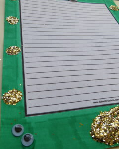 Green marker and gold glitter for St. Patrick's Day