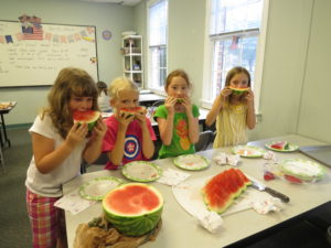 personal narrative writing prompt, kids eat watermelon