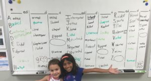 students write past verbs that end in ED-A to Z