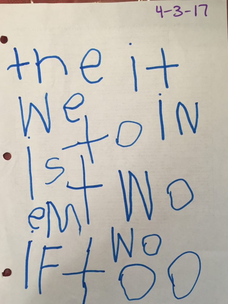 sight words-one child's list