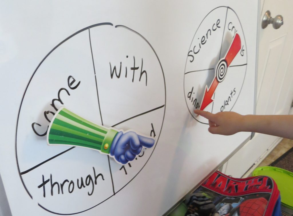 two spinners on two circles fill with sight words