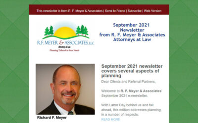 September 2021 newsletter released, covers aspects of planning