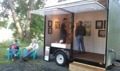 Artists talking at Mobile Art Gallery opening