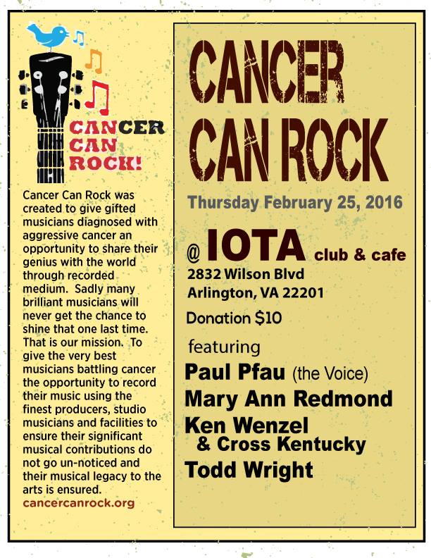 Cancer Can Rock Thursday February 25th, 2016