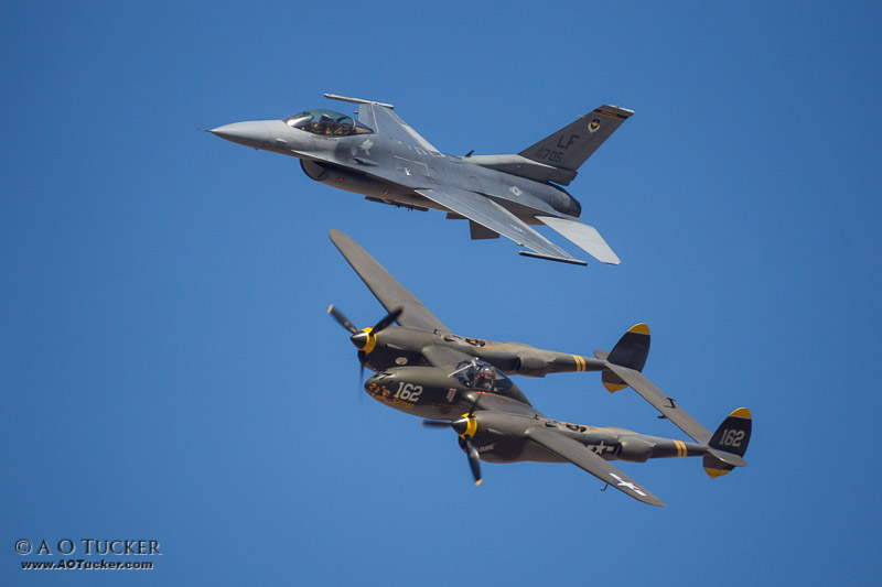 F-16 & P-38 Flyby