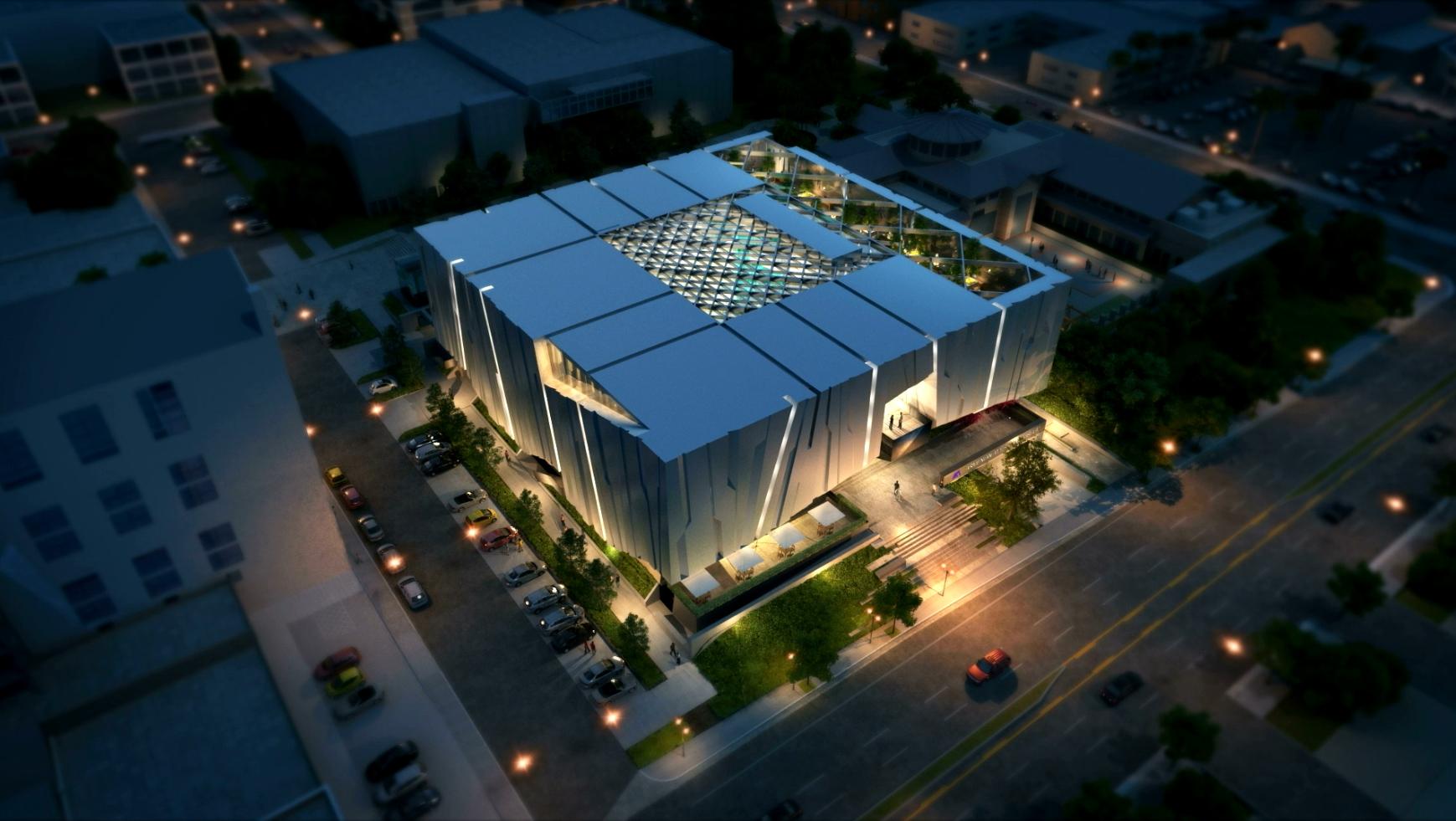 Armenian American Museum Aerial Night