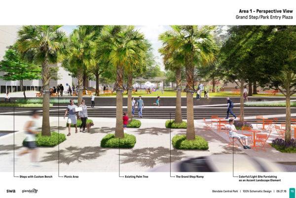 SWA Group Glendale Central Park Schematic Design 04 Grand Step Park Entry Plaza