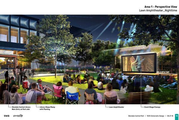 SWA Group Glendale Central Park Schematic Design 07 Lawn Amphitheater Nighttime
