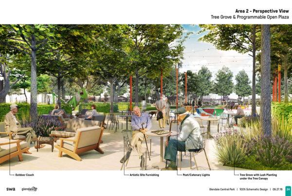 SWA Group Glendale Central Park Schematic Design 09 Tree Grove Open Plaza