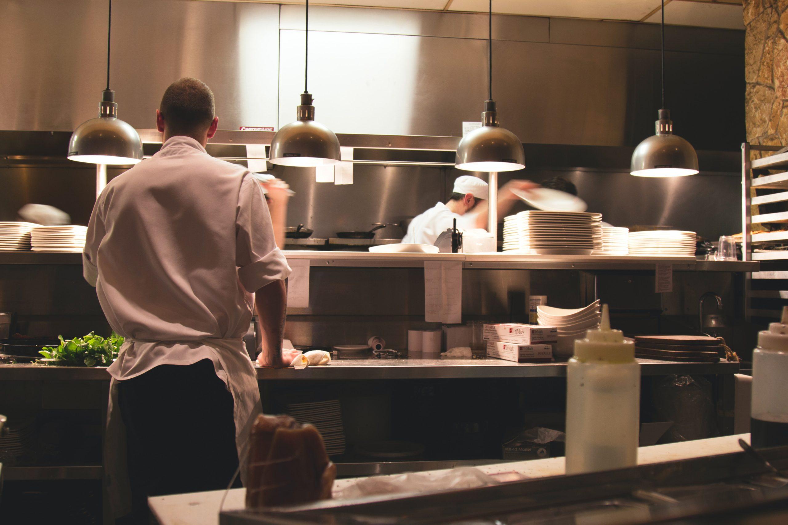 Chef in restaurant kitchen.
