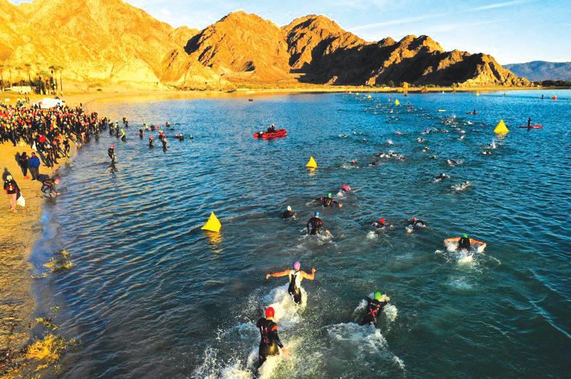 2018 IRONMAN athletes swimming in Lake Cahuilla