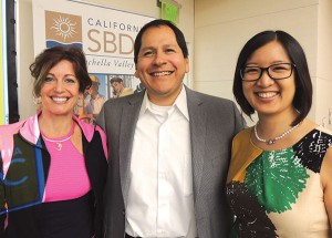 Ann Marie Palma, owner of Bikram Yoga Palm Desert; Chris Flores, MD; and Sonja Fung, ND of the Live Well Clinic discussed stress release techniques at CVSBDC's free monthly Fireside Chat session