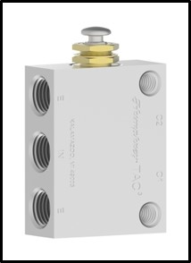 42P - 5-ported, 4-Way Push Button valve, spring return with 1/4 pipe ports.