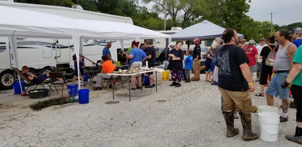 Lining up at the festival to crack open geodes