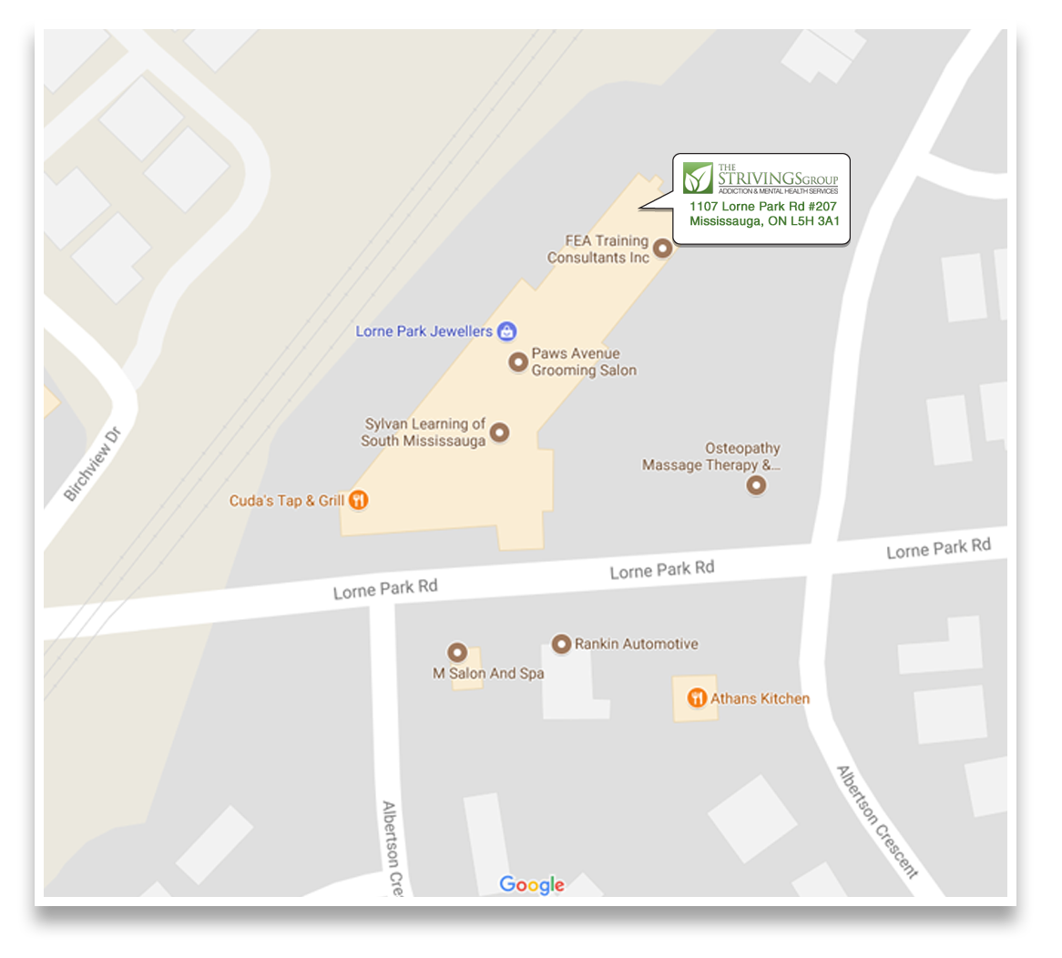 map-of-strivings-group-missississauga-location-lorne-park-rd-queen-st-w-L5H3A1