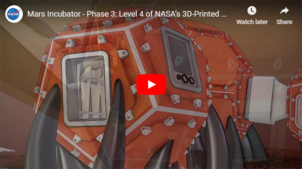The virtual design from team Mars Incubator won third place in the Phase 3: Level 4 software modeling stage of NASA's 3D-Printed Habitat Challenge. The team is a collection of engineers and artists.