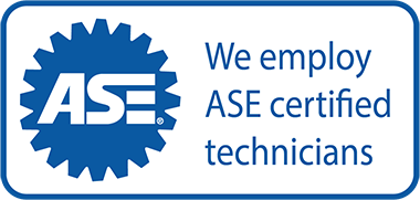 Example of An ASE Certified Sticker On a Mechanic Window.