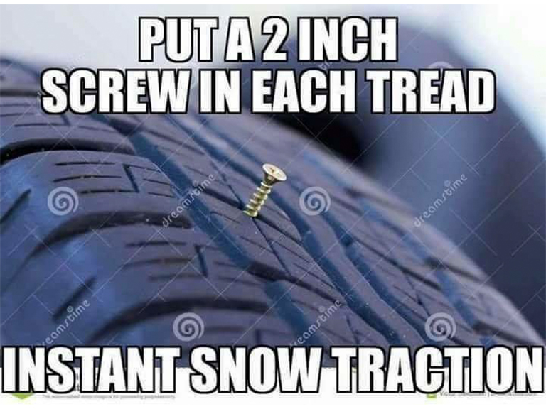Fake Car Life Hack: Put Several Screws In Your Tires For Instant Snow Traction