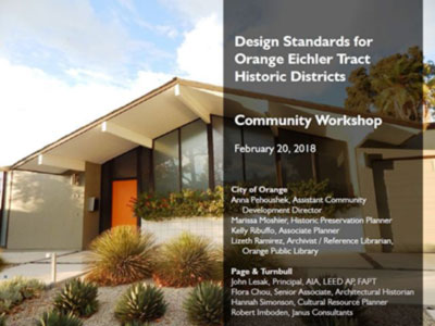 Orange Develops Rules to Protect Eichlers