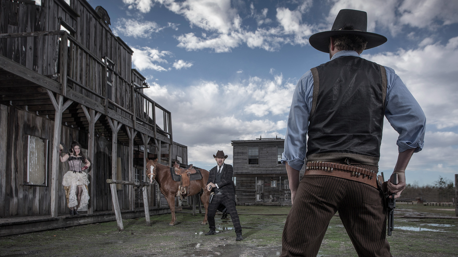western gun fight with hooker Wild West at J Loraine Ghost Town