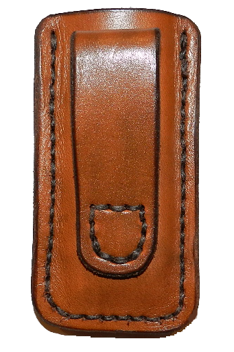 Magazine Case with leather belt loop and open top Image