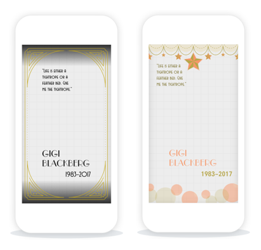 Sample custom geofenced funeral stickers created with geofilters