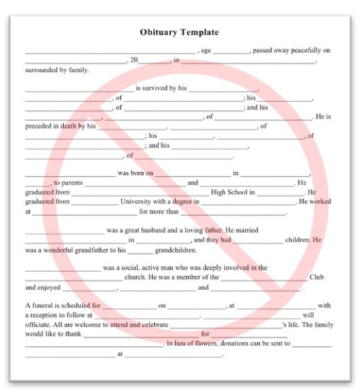 Obituary templates sample