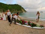 Destination funerals are held in exotic locales like this one on Shell Beach in St. Barth.